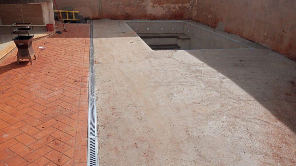 Piscina de Vinil com Banco Residencial Palmares - Estampa Green Stone 0,7mm-4.2