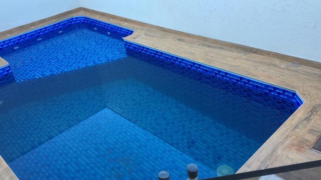 Piscina de Vinil com Praia Condominio Nova Jerusalem Jardinopolis - Estampa Granada 0,8mm-6