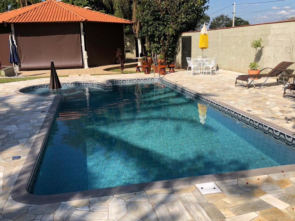 Piscina de Vinil com Spa e Degrau Condominio Estancia Beira Rio Jardinopolis - Estampa Copacabana 0,8mm-7