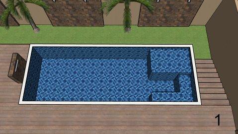 Piscina de vinil com Spa e Transbordo Estampa Master azul 0,7 mm-1