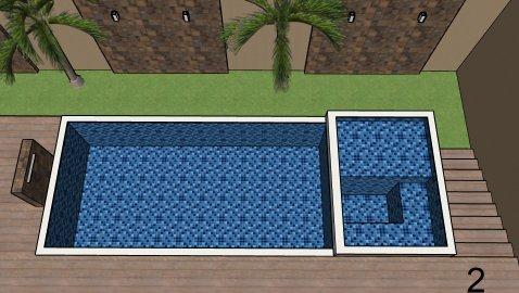 Piscina de vinil com Spa e Transbordo Estampa Master azul 0,7 mm-2