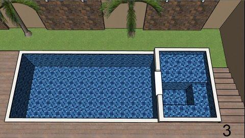 Piscina de vinil com Spa e Transbordo Estampa Master azul 0,7 mm-3