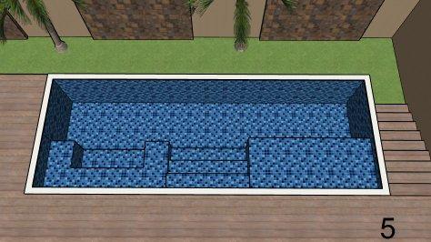 Piscina de vinil com Spa e Transbordo Estampa Master azul 0,7 mm-5