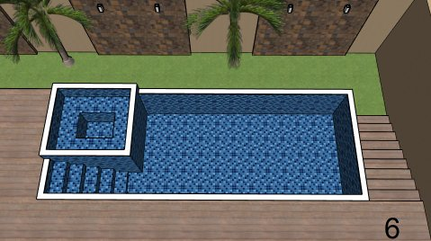 Piscina de vinil com Spa e Transbordo Estampa Master azul 0,7 mm-6
