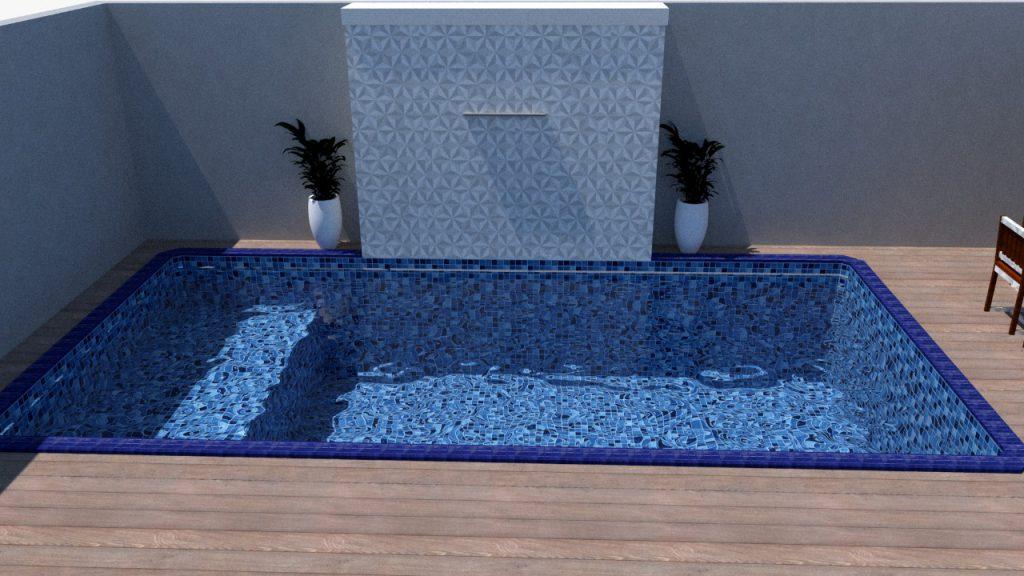 Piscina de vinil com banco Estampa Master azul 0,7 mm-1
