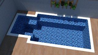 Piscina de vinil com praia Estampa Master azul 0,7 mm-1