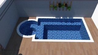 Piscina de vinil com praia Estampa Master azul 0,7 mm-2
