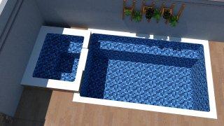 Piscina de vinil com praia Estampa Master azul 0,7 mm-3