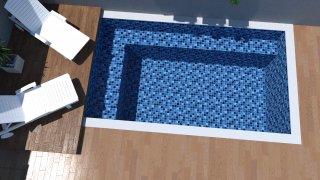 Piscina de vinil com praia Estampa Master azul 0,7 mm-4