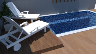 Piscina de vinil com praia Estampa Master azul 0,7 mm-5