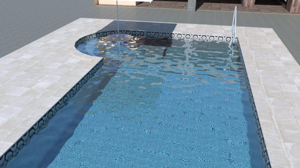 Piscina de vinil com spa degraus e cascata Estampa Copacabana 0,8 mm-1