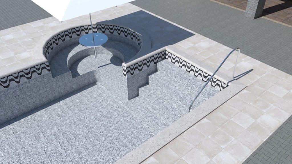 Piscina de vinil com spa degraus e cascata Estampa Copacabana 0,8 mm-2