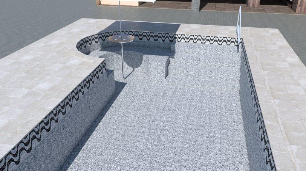 Piscina de vinil com spa degraus e cascata Estampa Copacabana 0,8 mm-7