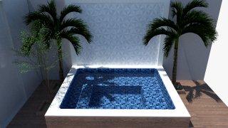 Piscina de vinil modelo spa estampa Master azul 0,7 mm-1