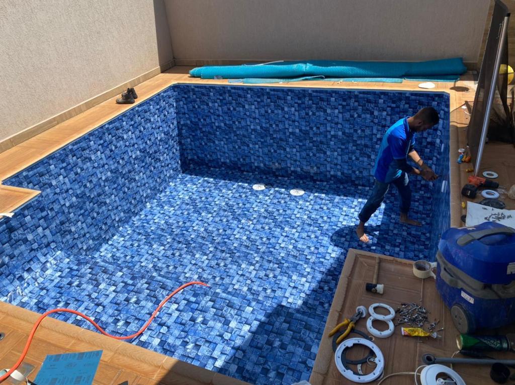 Troca de Vinil em Piscina Cond Sao Marco Estampa Blue Stone 0,7mm-2