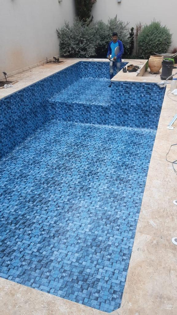 Troca de Vinil em Piscina Jardim California Estampa Blue Stone 0,8 mm-3